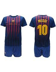 Completo Ufficiale Messi Barcelona Home 2018 2019 in Blister Maglia + Pantaloncini Barcellona 10 Bimbo Bambino (6 Anni)