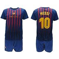 Completo Ufficiale Messi Barcelona Home 2018 2019 in Blister Maglia + Pantaloncini Leo Lionel 10 Bimbo Bambino (8 Anni)