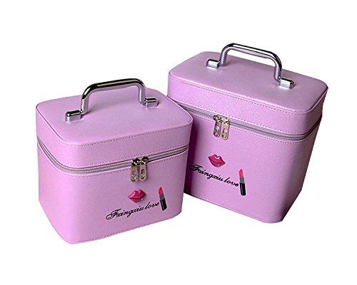 Zwei Sätze Von Kosmetiktüten Große Kapazität Tragbare Wasserdichte Stereotypen Kosmetik Fall Professionelle Schöne Make-up Tasche Purple
