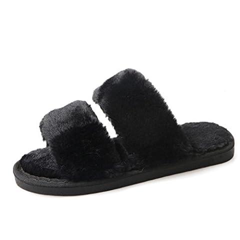 Taottao Femme Fluffy Fausse fourrure Plat Chaussons décontracté antidérapant souple Flip Flop Sandale Sports et plein air curseurs de bain plage Piscine Chaussures, noir, 41
