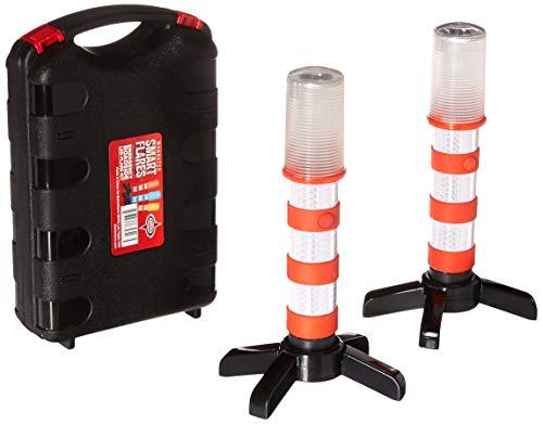 Emergenza su strada Flares–2x LED rosso spia Flares in impermeabile durevole scatola | 3sequenze di illuminazione | altamente visibile per la massima sicurezza | Safe Storage