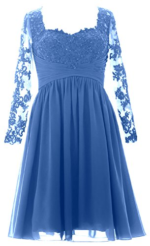 MACloth Vintage Long Sleeves Mother of Bride Dress Short Evening Formal Gown Horizon