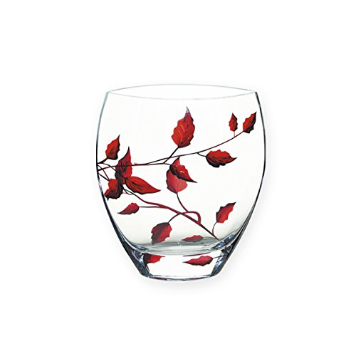 6c246aeb25 RUBY LEAF Tendril Design Classic Curved Glass Flower Vase - Mouth Blown /  Hand Decorated Glass - Ideal Ruby Wedding/ 40th Wedding Anniversary Gift -  ...