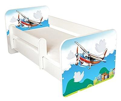 Cama de madera con colchón de freno, paneles laterales extraíbles (diseño de aviones)