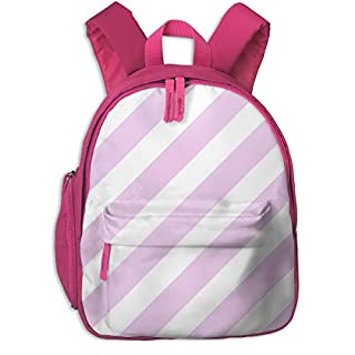 Childrens Backpack for Girls,Stripes Diagonal Coordinate Unicorn Quilt Nursery Fabric_3872-charlottewinter,for Children's Schools Oxford Cloth (Pink)