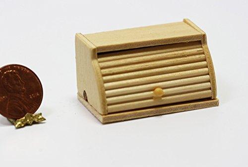 Puppenhaus Miniatur 1:12 Küchenzubehör Unbehandeltes Holz Roll Top Brot-bin Box