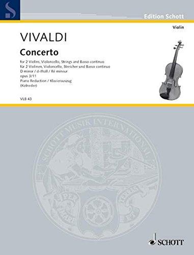 Preisvergleich Produktbild L'Estro Armonico: Concerto grosso d-Moll. op. 3/11. RV 565 / PV 250. 2 Violinen, Violoncello obl., Streicher und Basso continuo. Klavierauszug mit Solostimmen. (Edition Schott)