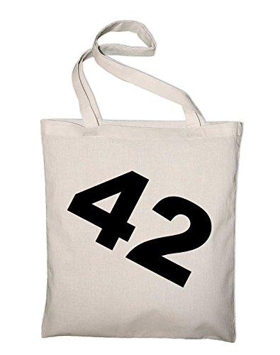 #3 Per Anhalter durch die Galaxis 42 Jutebeutel, Beutel, Stoffbeutel, Baumwolltasche, royalblue Natur