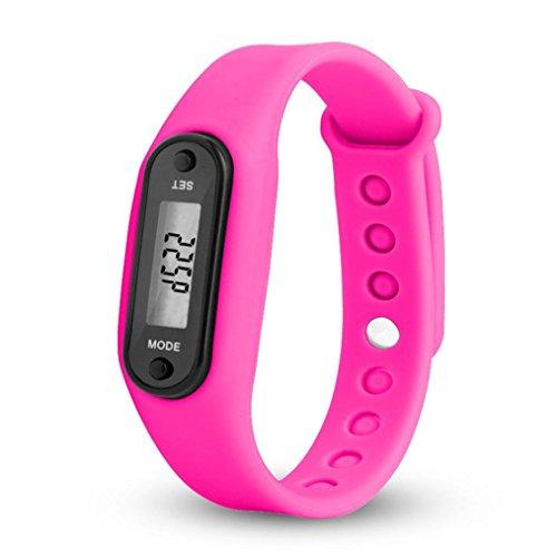 Kanpola Damen Herren Gummi LED Uhren Datum Sports Armband Digital Armbanduhr / Run Step Walking Distance Watch Schrittzähler Kalorienzähler Digital LCD Armband (Pink)