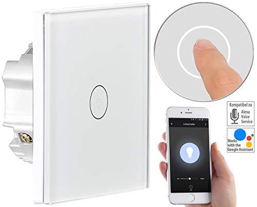 Luminea Home Control WiFi Lichtschalter: Touch-Lichtschalter, WLAN, kompat. zu Amazon Alexa & Google Assistant (Lichtschalter Alexa kompatibel) - Glas 4 Licht Unterputz