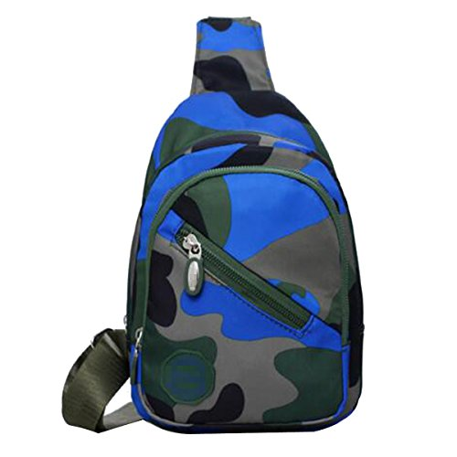 Unisex Art Und Weise Beiläufigen Wasser-Beweis Im Freien Spielraum Tarnung Geneigte Schulterbeutel Brustbeutel Multicolor Blue