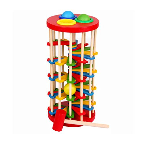 ELECTROPRIME Hot Sale Infant Toy Educational Toy Wooden Multicolour Ball Ladder Toy Knock