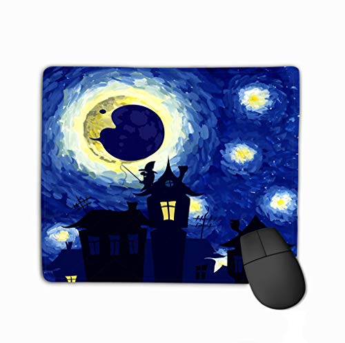 Mouse Pad Starry Night Style Van Gogh Halloween Background Charming Rectangle Rubber Mousepad 11.81 X 9.84 Inch