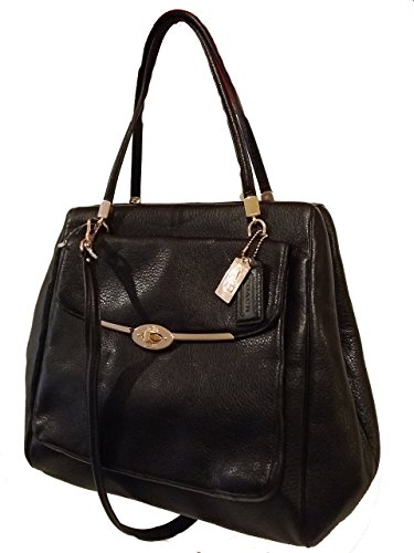 Coach Madison North South Satchel In Leather Black
