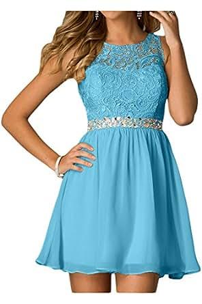 Ivydressing Damen Liebling Steine A-Linie Chiffon&Spitze Cocktailkleid Brautjungfernkleider Partykleid Abendkleid-32-Blau
