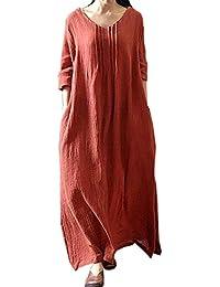 POLP Vestidos Vestidos Largos de Fiesta Elegantes Vestidos de Noche Tallas Grandes Manga Larga Falda Lino Mujer Cintura Alta Vestidos de Fiesta S-5XL