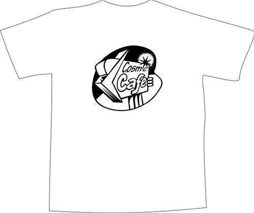 T-Shirt E1229 Schönes T-Shirt mit farbigem Brustaufdruck - Logo / Grafik / Design - Retro Wegweiser USA - COSMIC CAFE Schwarz