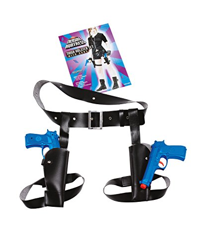 Black Thigh Twin Holster Set with Guns Set Lara Croft Cowboy Fancy Dress Toy