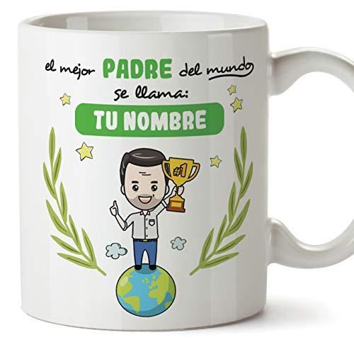 MUGFFINS Padre Tazas Originales Personalizadas con tu Nombre para Regalar a Papa - El Mejor Padre del Mundo - Cerámica 350 ml - Personalizable café y Desayuno
