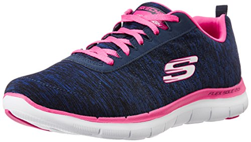 Skechers Flex Appeal 2.0, Damen Low-top, Blau (NVPK), 37 EU (4 UK) - 2 Blaue Trikot