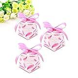JZK 50 forme de diamant boîtes roses et rubans boîte de bonbons en papier pour le mariage anniversaire Noël douche de bébé remise de diplôme