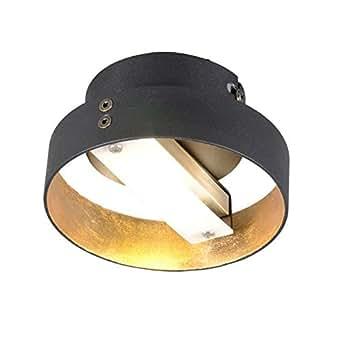 QAZQA Design / Industriel / Moderne / Plafonnier Double 1 noir Metal / / Rond LED incluses LED (non remplaçable) Max. 1 x 3 Watt / Luminaire / Lumiere / Éclairage / intérieur / Salon / Chambre á couc