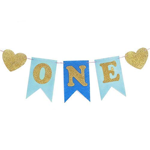 Ting-times supplies party - baby first birthday blue pink chair banner one year 1st party decoration boy girl i am bunting - toys charras teenager glow george pirates cars stars ball minie party (2)