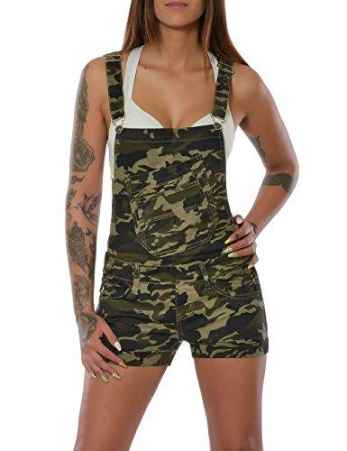 Damen Camouflage Latzhose Latz-Jeans Latz-Shorts Kurze Hose Jumpsuit Overall No 15635, Farbe:Mehrfarbig;Größe:34 / XS