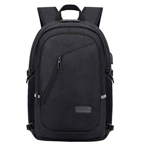 Finebo Rucksack Schultermode Computer Anti-Diebstahl-Reiserucksack Mit USB Ladeanschluss Männer und Frauen Reisen diebstahlsichere Schultasche Paket (Schwarz) -