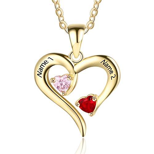 lisierte Sterling Silber Halskette 2 Namen simulierte Birthstones Beziehung Halsketten 2 Paar Herz Name gravierte Anhänger für Paare (Gold) ()