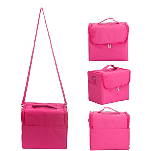HUATINGRHHO Make Up Box, Professionelle Fabric Finish Make Up/Beauty/Kosmetikkoffer Lagerung Beauty Box, Rose Red