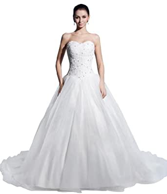 GEORGE BRIDE Ball Gown Strapless Beaded Bodice Satin Wedding Dress Size EU34White