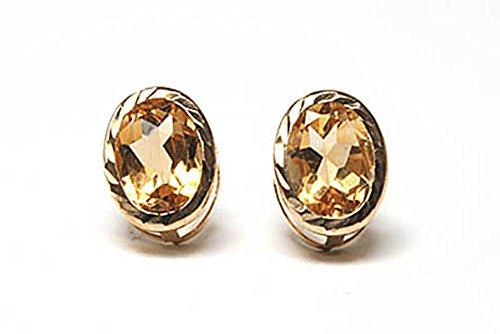 9ct Gold Oval Citrin Diamant Schnitt Ohrstecker