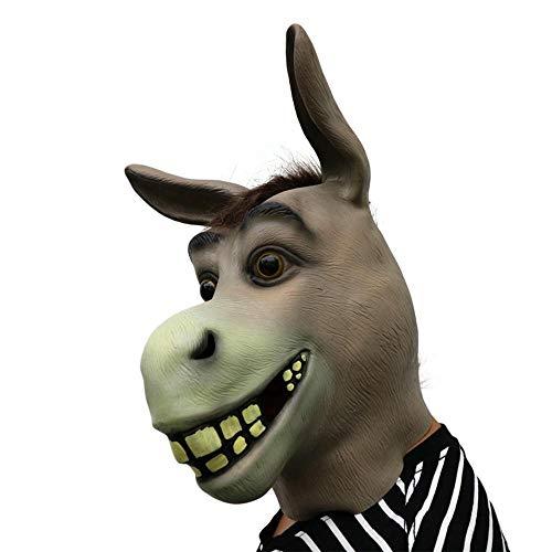ZHONGJIEJIE Maske Halloween Party Maske Gruselig Lustige Pferdekopf Maske Kostüm Karneval Latex Tier Maske (Lustige Pferdekopf Kostüm)