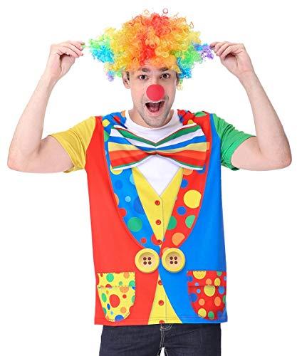 COSAVOROCK Herren Clown Kostüm T-Shirts mit Perücke