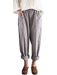 Pantalon De Taille Haute Chic des Femmes, Dames Vintage Rayé Pantalons Lady  LâChe Coton Lin 5b3ff95b5e0f