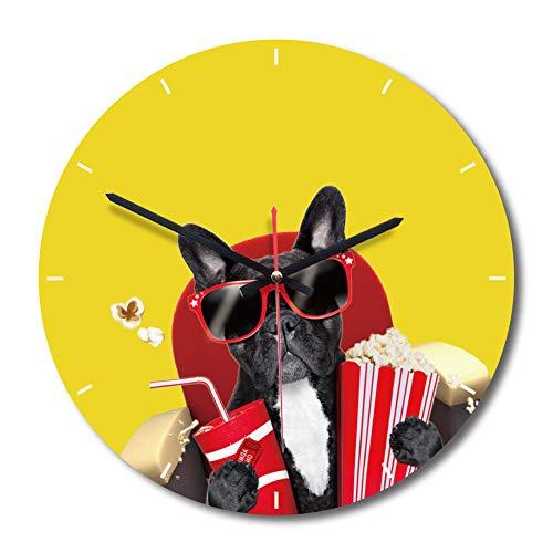 Classic quality Silent Sweep Wanduhr Die kreative Wanduhr im europäischen Stil Wohnzimmer Farbe gelb Cartoon Hund dekorative Uhren Sonnenbrillen tragen in den Hund.