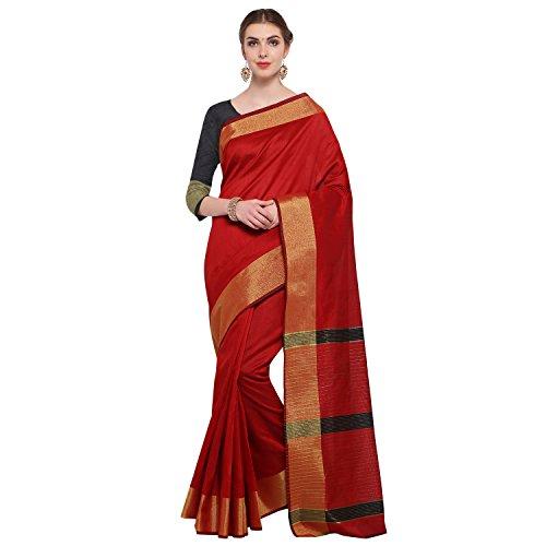 KANCHNAR Women's Red Tussar Silk Stripes Printed Saree