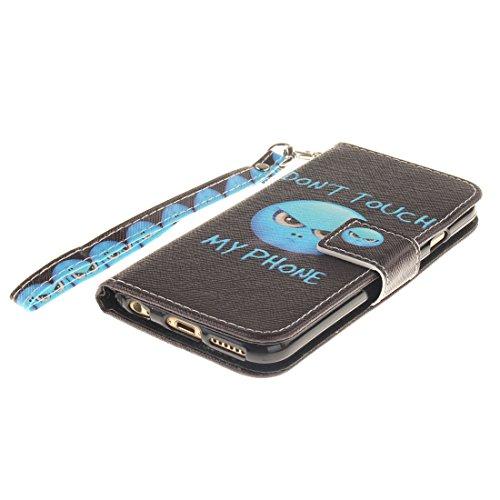 "Apple iPhone 6S Coque Cuir Portefeuille, iPhone 6 Case, Etui iPhone 6 4.7"" Rabat Style Flexible PU Joli Original Peinture - Don't Touch My Phone Noir"