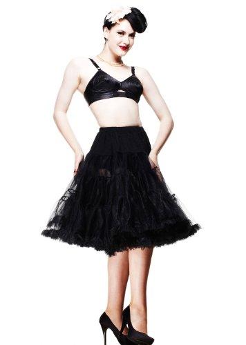 Hell Bunny Petticoat lang Gr: L-XXL, schwarz Rockabilly 50s 50er Unterrock Swing