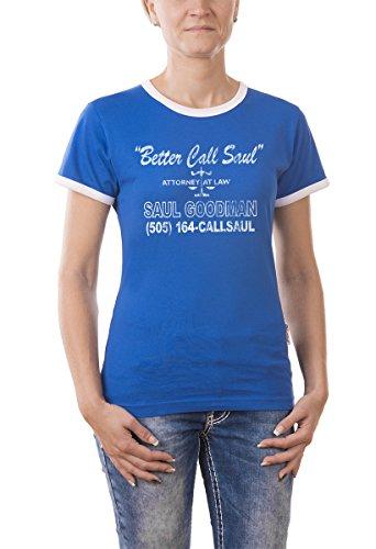 Touchlines Damen T-Shirt Better Call Saul Heisenberg Vintage Girlie Ringer, royal, L, B9323-Royal-L -