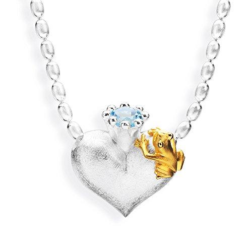 Drachenfels mittlerer Herzanhänger mit Topas | Kollektion Froschkönig | Eleganter Anhänger in Echtsilber | Herzform Anhänger aus 925 Sterling Silber für Damen