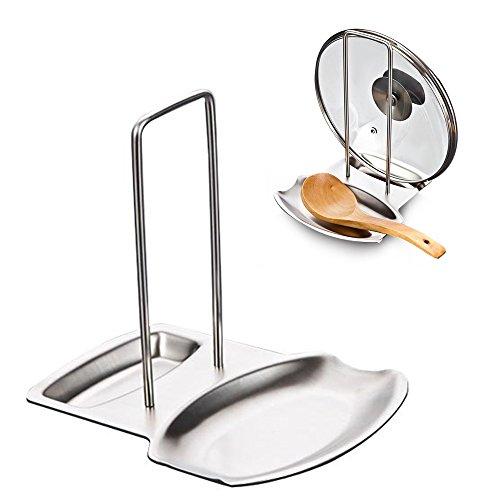 iZoeL Topfdeckelhalter Deckelhalter Deckelständer Löffelablage Ständer Halter Ablage für Topfdeckel und Kochlöffel aus Premium Edelstahl