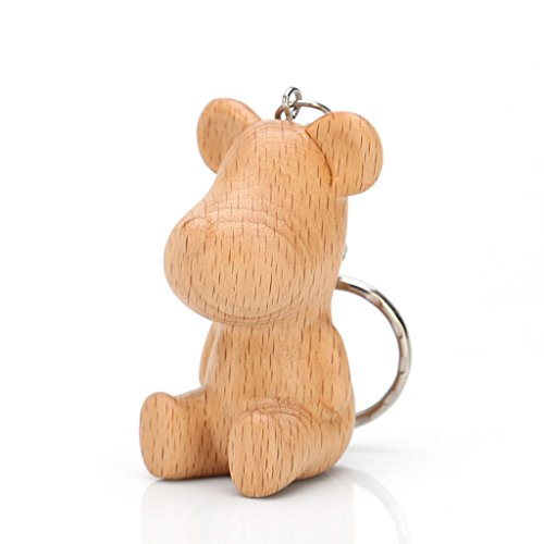 PLL Natural Beech Wood Carving Fun Bear Shape Keychain Key Chain Car Pendant Keyring