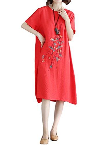 MatchLife Damen Leinenkleid Vintage Gestickt Sommerkleid Rundhals Kurzarm  Boho Kleider Style3 Rot Fit EU 36-46 da173371a3
