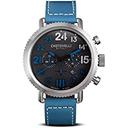 Chotovelli Vintage Pilot Men's Chronograph Watch Analogue display Blue leather Strap 72.12
