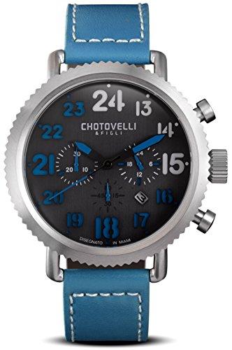 Vintage Pilot Armbanduhr Herren Stahl Blau Leder Band Chronograph Display, Chotovelli 7200–12
