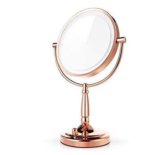 Gwo spaire specchio per il trucco del desktop led verticale bilaterale 8 pollici normale e 3 volte ingrandimento 2 in 1 specchio rotante a 360 °