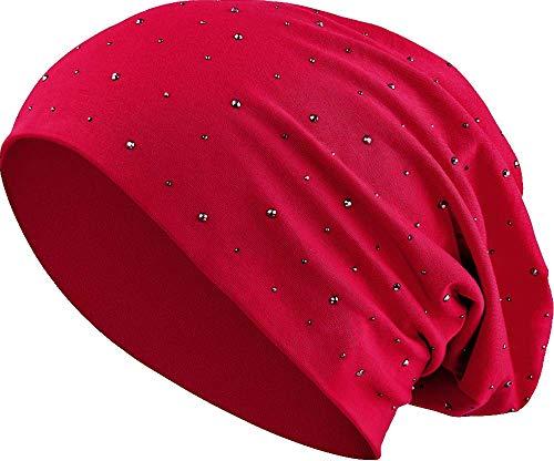 Jersey Baumwolle elastisches Long Slouch Beanie Unisex Herren Damen mit Strass Stern Steinen Mütze Heather in 35 (7) (Dark Red)