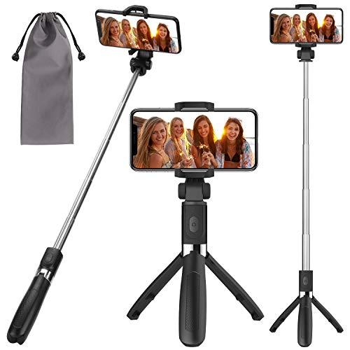 Bastone selfie,peyou [3in1]bastone selfie stick bluetooth estendibile monopiede tenuto a mano supporto treppiedi otturatore a telecomando rimovibile per camera/iphone/samsung(nero)
